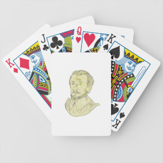 15th Century Spanish Explorer Bust Drawing Bicycle Playing Cards