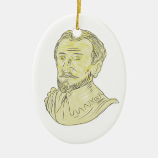 15th Century Spanish Explorer Bust Drawing Ceramic Ornament