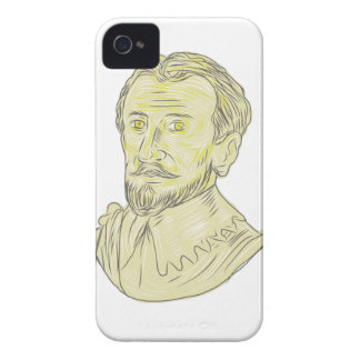 15th Century Spanish Explorer Bust Drawing iPhone 4 Case-Mate Cases