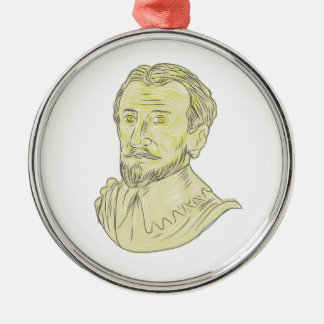 15th Century Spanish Explorer Bust Drawing Metal Ornament