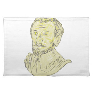 15th Century Spanish Explorer Bust Drawing Placemats