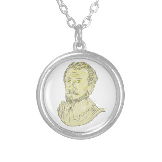 15th Century Spanish Explorer Bust Drawing Silver Plated Necklace