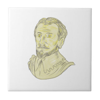15th Century Spanish Explorer Bust Drawing Tile