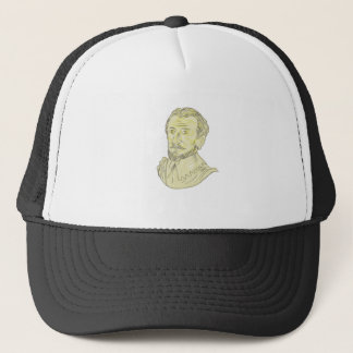 15th Century Spanish Explorer Bust Drawing Trucker Hat