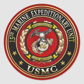 15th Marine Expeditionary Unit (15th MEU) [3D] Classic Round Sticker
