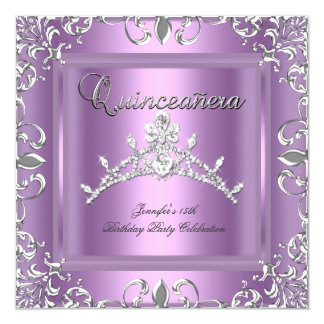 15th Quinceanera Birthday Party Silver Lilac Tiara Card