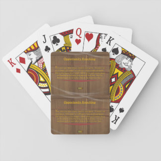 15th Quote; Opportunity Knocking Playing Cards