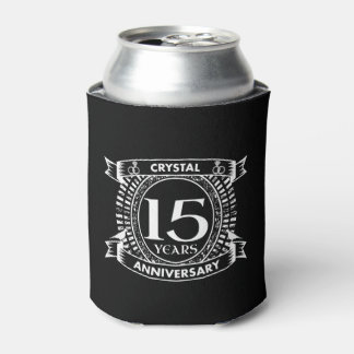 15TH wedding anniversary black and white Can Cooler