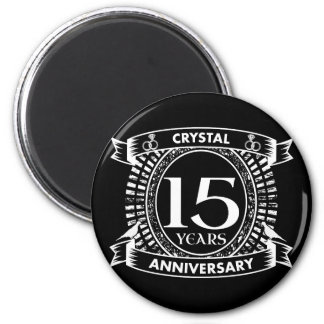 15TH wedding anniversary black and white Magnet