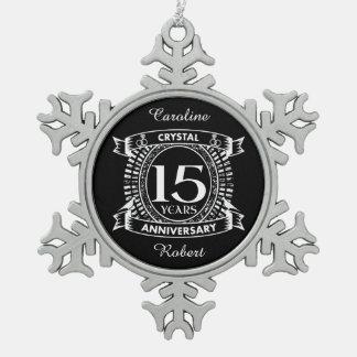 15TH wedding anniversary black and white Snowflake Pewter Christmas Ornament
