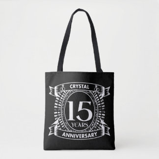 15TH wedding anniversary black and white Tote Bag