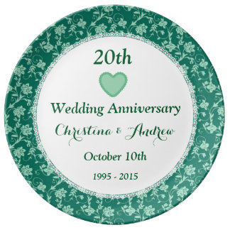 15th Wedding Anniversary Emerald Green V10C1 Porcelain Plate