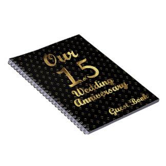 15th Wedding Anniversary Guest Book Black Gold