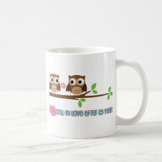 15th Wedding Anniversary Owls Coffee Mug