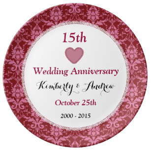 15 Year Wedding Anniversary Gift.15th Wedding Anniversary Ruby Red Floral W15b Plate