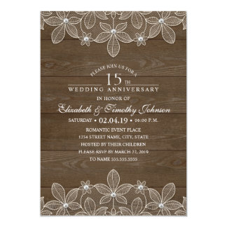 15th Wedding Anniversary Rustic Wood Country Lace Card