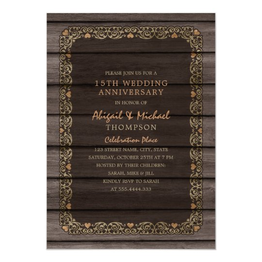 15th Wedding Anniversary Rustic Wood Country Party Card