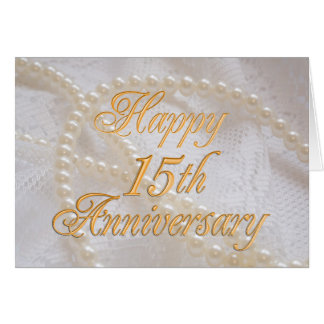 15th wedding anniversary with lace and pearls card