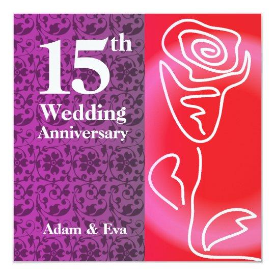 15th Wedding Anniversary Party Ideas: 15th Year Wedding Anniversary Invitation Rose