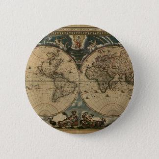 1600s original painted world map 6 cm round badge