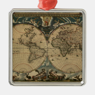 1600s original painted world map Silver-Colored square decoration