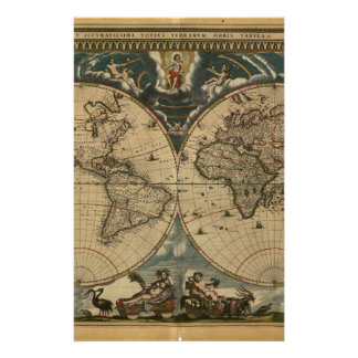 1600s original painted world map stationery