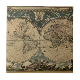 1600s original painted world map tile