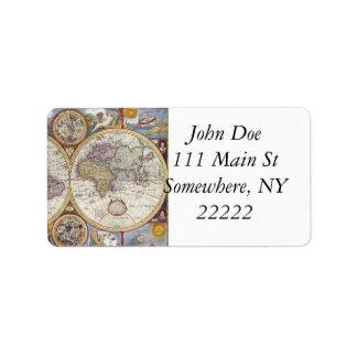 1626 Vintage World Map Address Label