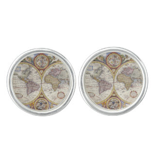 1626 Vintage World Map Cuff Links