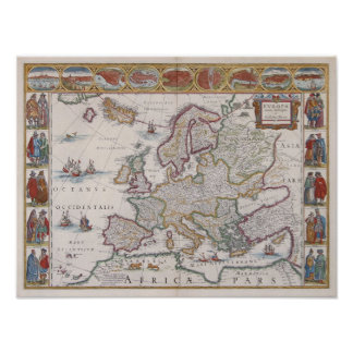 1630 Map of Europe Print
