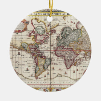 1652 Map of the World, Doncker Sea Atlas World Map Ceramic Ornament