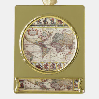 1652 Map of the World, Doncker Sea Atlas World Map Gold Plated Banner Ornament
