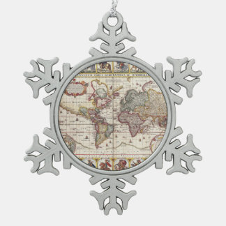 1652 Map of the World, Doncker Sea Atlas World Map Snowflake Pewter Christmas Ornament