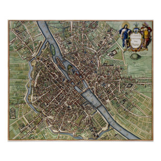 1657 Paris Map Poster