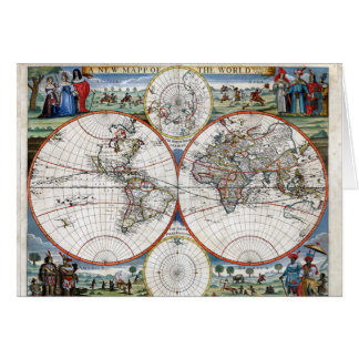 1676 World Map Greeting Card