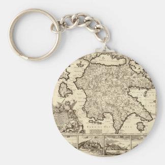 1688 Greece / Greek Peloponnesian Map Basic Round Button Key Ring