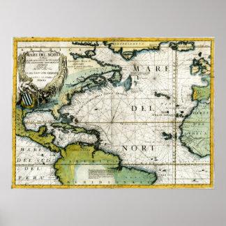 1691 Atlantic Nautical Chart Poster