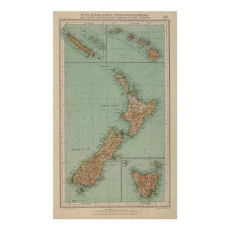169 New Zealand, Hawaii, Tasmania Poster