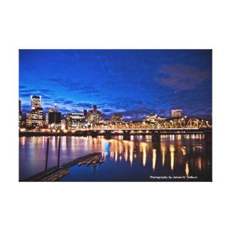 16.10 x 11 Portland Skyline at Night #1 Canvas Print