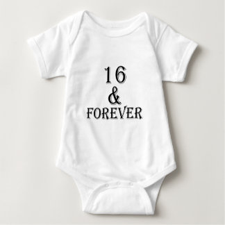 16 And  Forever Birthday Designs Baby Bodysuit