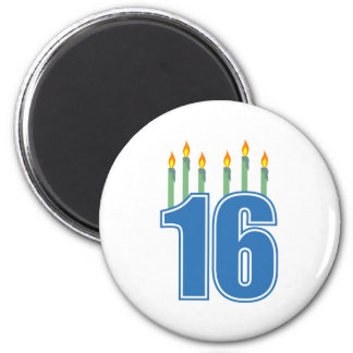 16 Birthday Candles (Blue / Green) 6 Cm Round Magnet