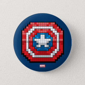 16-Bit Pixelated Captain America Shield 6 Cm Round Badge
