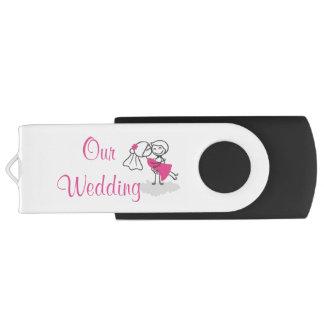 16 GB, Black USB Flash Drive /Our Wedding Swivel USB 3.0 Flash Drive