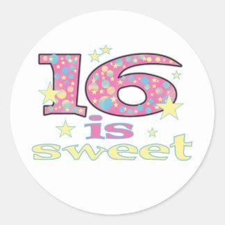 16 is Sweet Classic Round Sticker