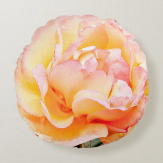"16"" Round Peach and Yellow Rose Pillow"