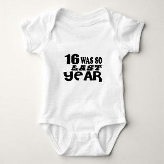16 So Was So Last Year Birthday Designs Baby Bodysuit