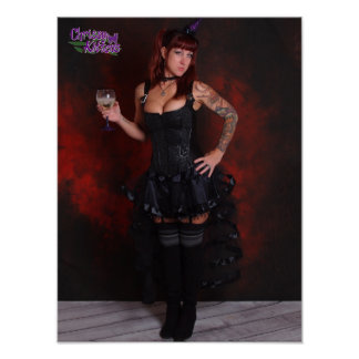 "16"" x 12"" Chrissy Kittens Witch In Red Poster"