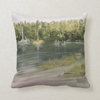 16 x 16 Cotton Throw Pillow - Two Boats design
