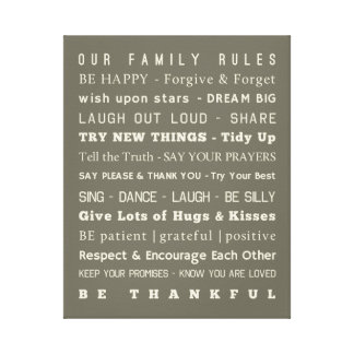 """16"""" x 20"""" Family Rules Canvas"""