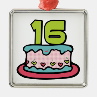 16 Year Old Birthday Cake Metal Ornament